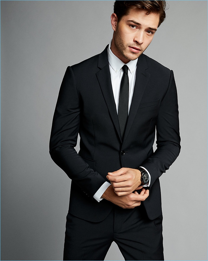 Men's Slim-Fit Suits Cheap Express Skinny Innovator Black Suit