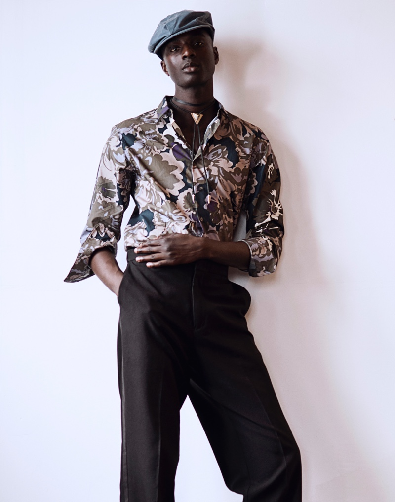 Aly wears shirt Selected Homme, trousers John Varvatos, necklace Avocet, and hat Krammer & Stoudt.