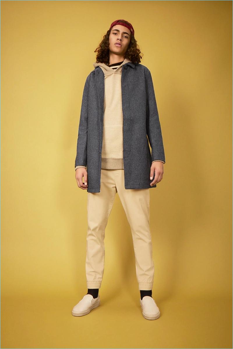 Forever 21 Men Woolen Tweed Overcoat