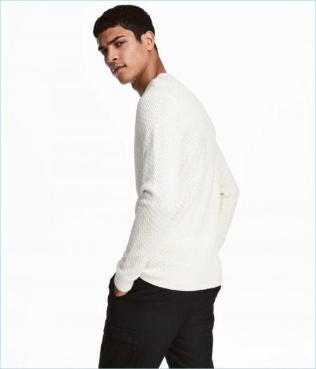 H&M Men's Knit Cotton-Blend Sweater