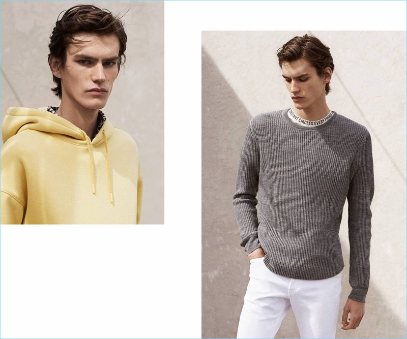 Left: Elias de Poot sports a wide-cut H&M hooded sweatshirt $34.99. Right: Elias wears a H&M textured wool-blend sweater $34.99, wide-cut t-shirt $14.99, and white skinny jeans $34.99.
