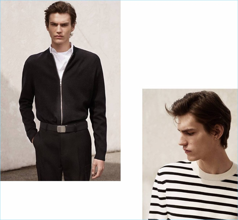 Left: Elias de Poot models a H&M full-zip cardigan $49.99, premium cotton shirt $24.99, fabric web belt $5.99, and slim-fit suit pants $59.99. Right: Elias wears a striped H&M sweater $39.99.