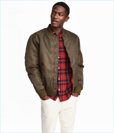 H&M Men's Padded Bomber Jacket