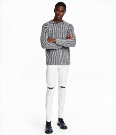 H&M Men's Skinny Regular White Jeans