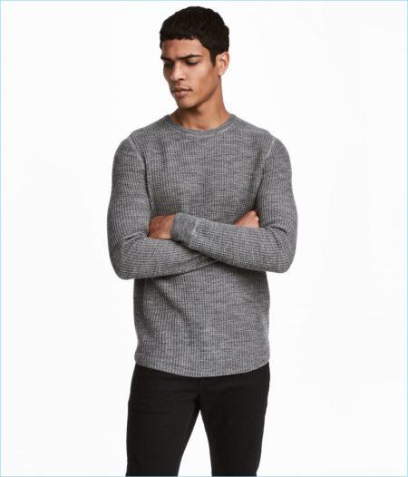 H&M Men's Textured Wool-Blend Sweater