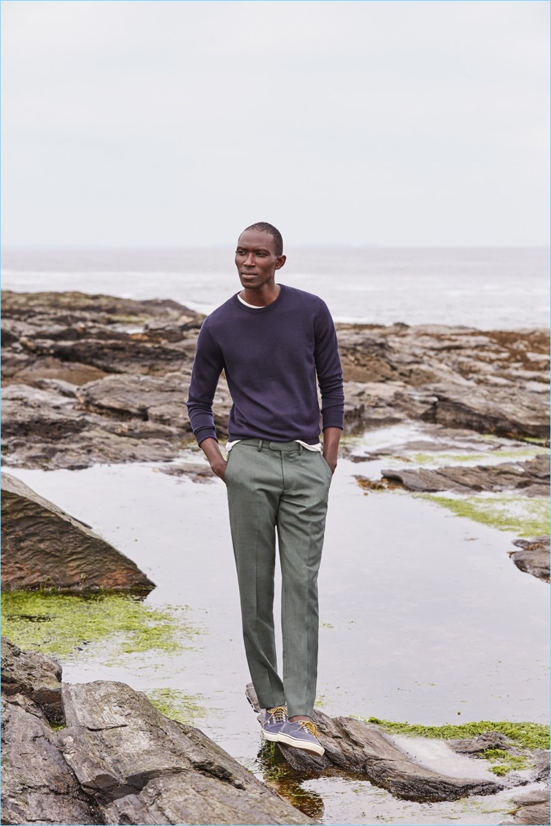 J.Crew makes a case for its Four-Season wool Bowery slim pants $98. Here, Armando Cabral wears the style in field green. He also sports a J.Crew Italian merino wool sweater $79.50, broken-in t-shirt $24.50, and Vans for J.Crew canvas authentic sneakers $60.