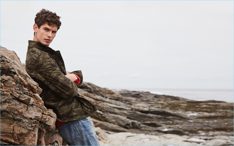 Channel a rugged spirit with J.Crew's Sussex quilted jacket $198 in camouflage. Complete the look with a red French terry sweatshirt $69.50 and 770 straight distressed jeans $138 in paint splatter.