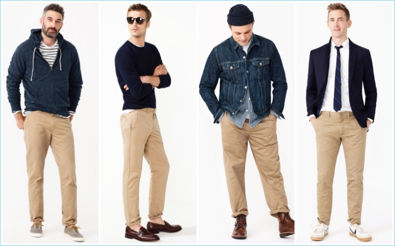 J.Crew highlights its various fits for men's chinos.