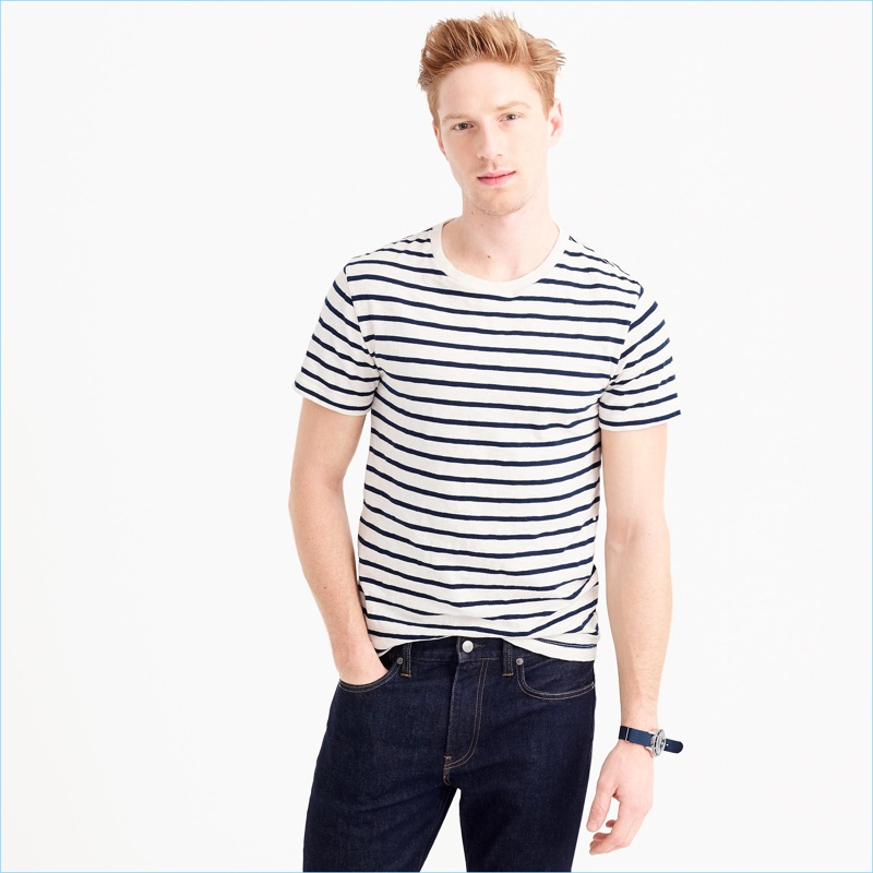 J.Crew Men's Slub Cotton Deck Striped T-Shirt