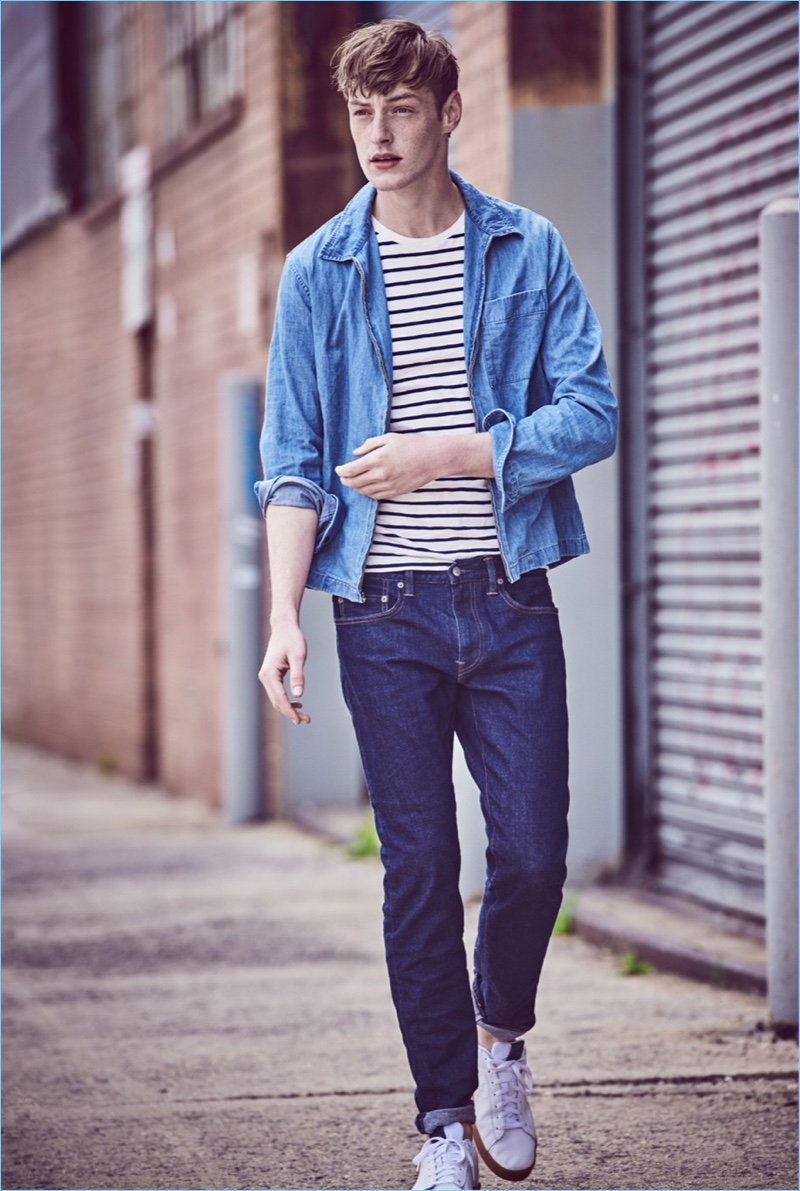 Take a stroll in J.Crew's lightweight denim zip-front overshirt $79.50. It goes great with the brand's striped t-shirt $45, 484 slim stretch indigo jeans $98, and New Balance for J.Crew 891 leather high-top sneakers $85.