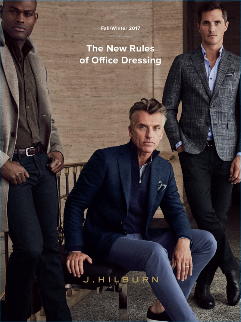 Models Oraine Barrett, John Pearson, and Ollie Edwards come together for J.Hilburn's fall-winter 2017 catalogue.