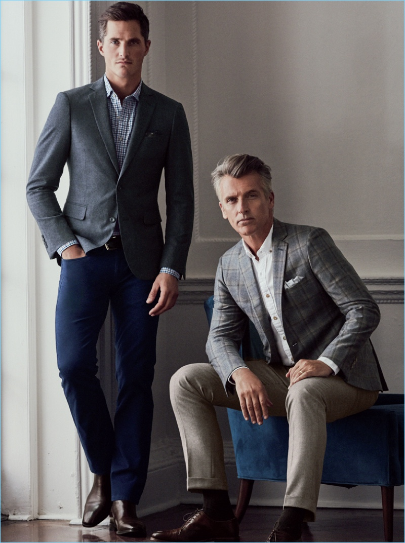 Models Ollie Edwards and John Pearson wear smart tailored separates by J.Hilburn.