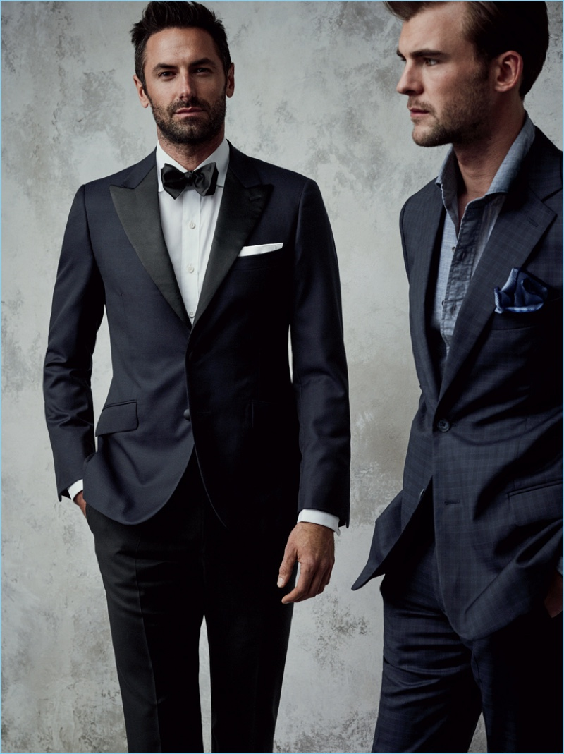 Josh Wald and Patrick Kafka don trim suiting from J.Hilburn's fall-winter 2017 collection.