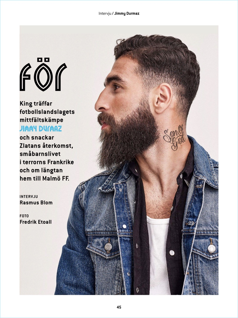 Gracing the pages of King magazine, Jimmy Durmaz wears a Dr. Denim shirt and jean jacket.