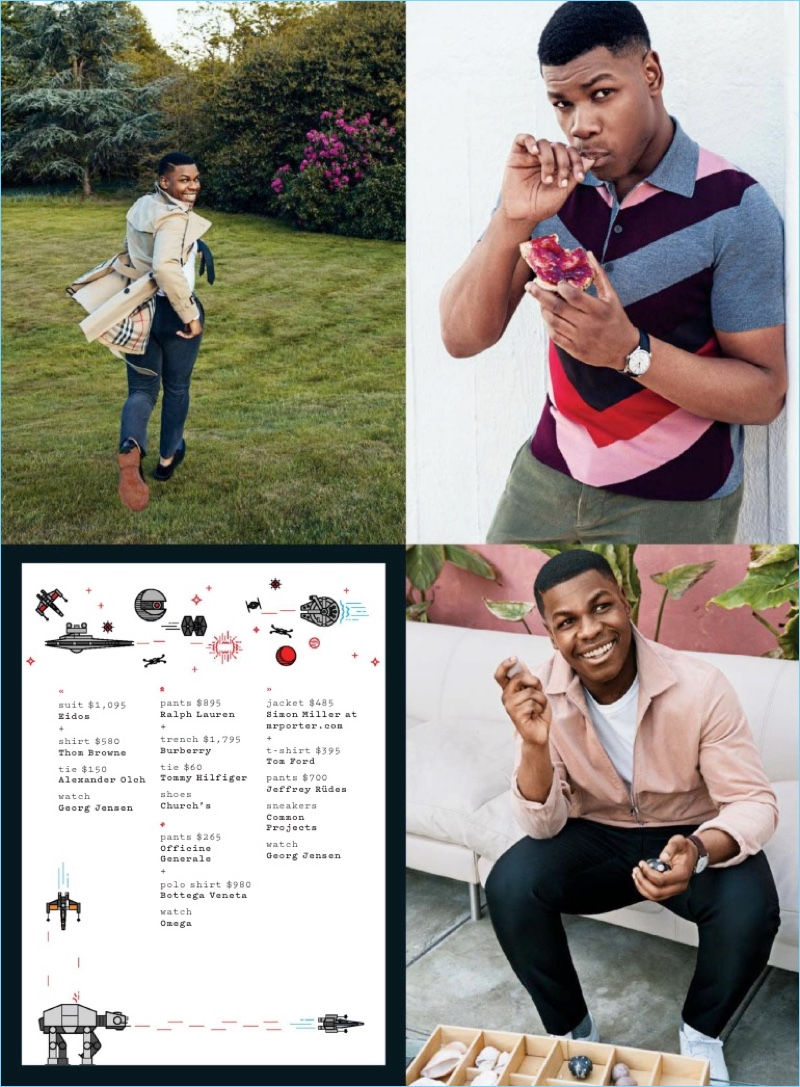 Starring in a GQ photo shoot, John Boyega wears fashions from brands like Burberry and Ralph Lauren.