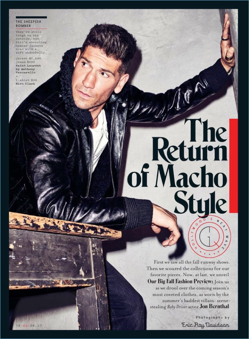 Jon Bernthal wears a Saint Laurent leather jacket and jeans with a Hiro Clark t-shirt.