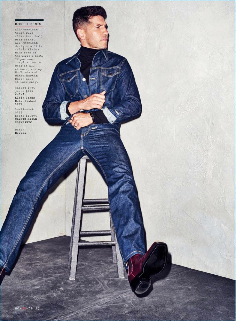 Making a case for denim, Jon Bernthal rocks a jean jacket and jeans by Calvin Klein Jeans. He also sports a turtleneck and boots from Calvin Klein 2015W39NYC.