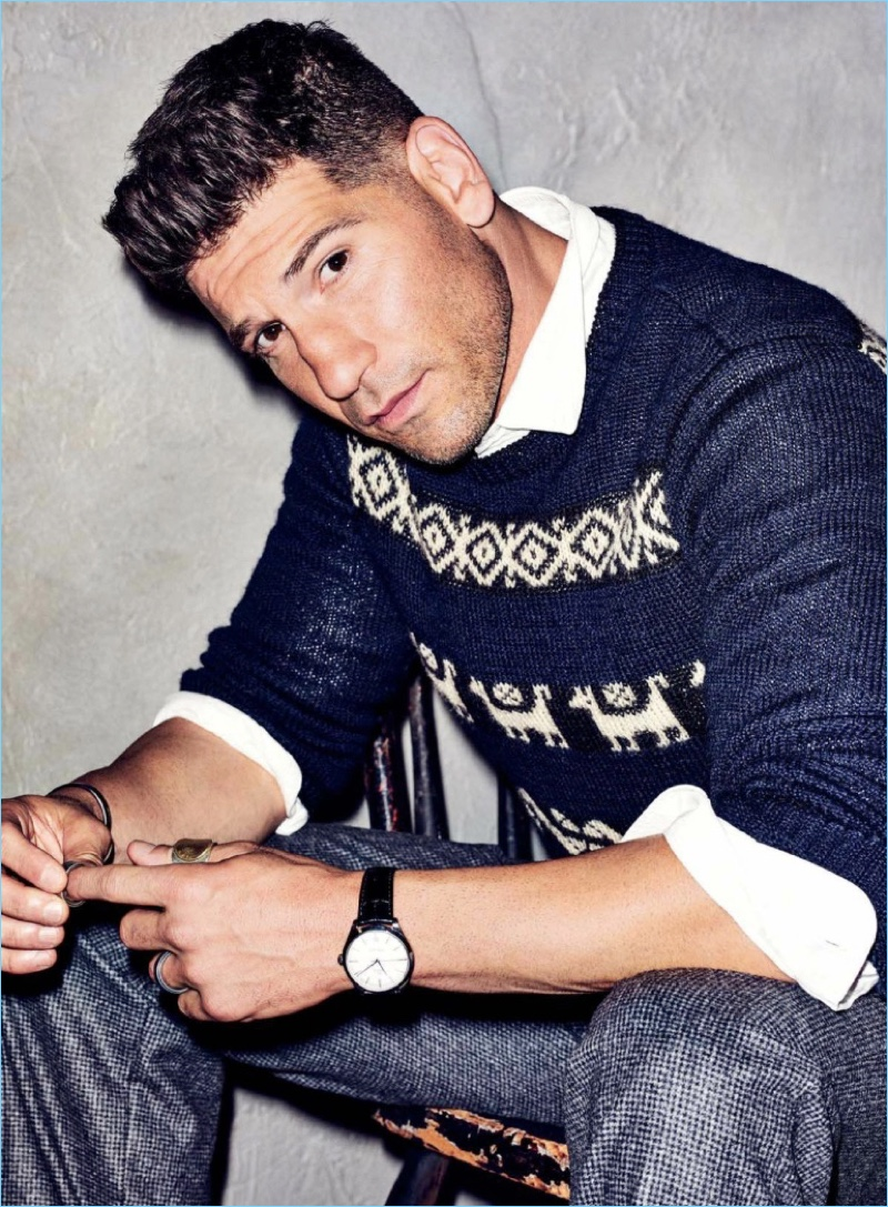 Ready for his close-up, Jon Bernthal wears a Dries Van Noten sweater with a J.Crew shirt and BOSS pants.