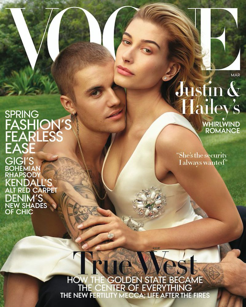 Justin Bieber and Hailey Baldwin cover the March 2019 issue of Vogue.