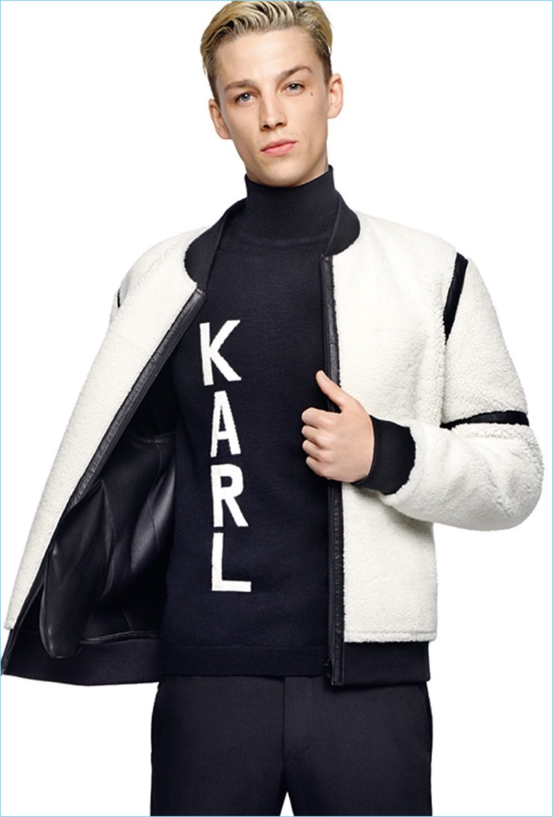 British model Ash Stymest fronts Karl Lagerfeld's fall-winter 2017 campaign.