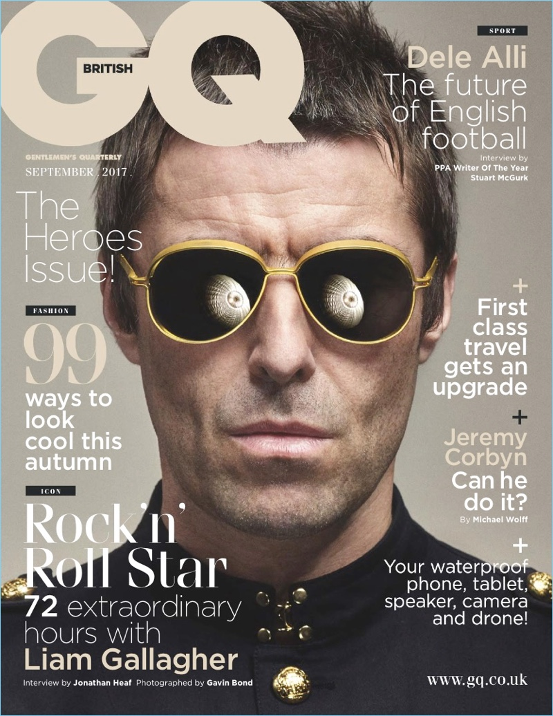 Liam Gallagher covers the September 2017 issue of British GQ.