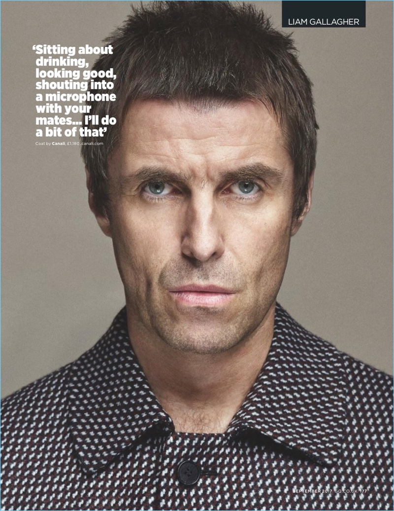 Starring in a British GQ photo shoot, Liam Gallagher wears a Canali coat.