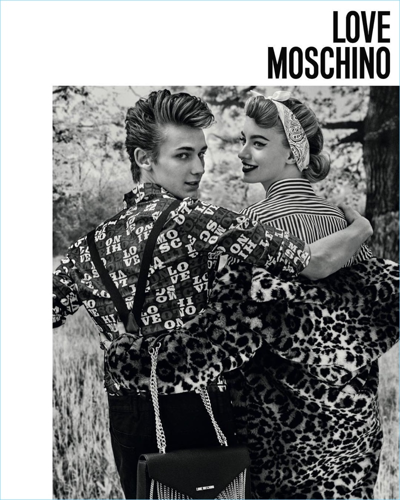 Models Kristian Einla and Giulia Maenza couple up for Love Moschino's fall-winter 2017 campaign.