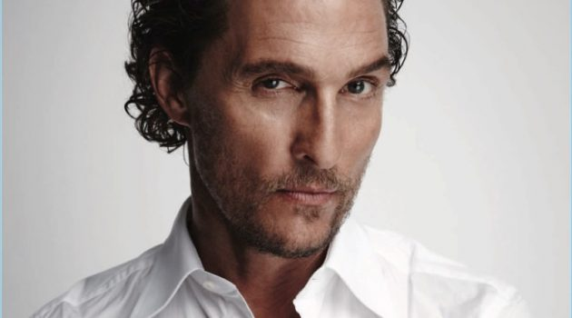 Ready for his close-up, Matthew McConaughey dons a classic white dress shirt.