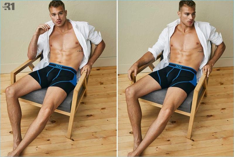 Model Matthew Noszka wears SAXX underwear for Simons.