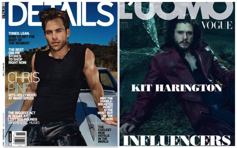 Magazine covers from the now defunct Details and L'Uomo Vogue.