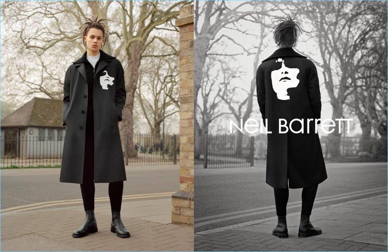 Model William Allen appears in Neil Barrett's fall-winter 2017 campaign.