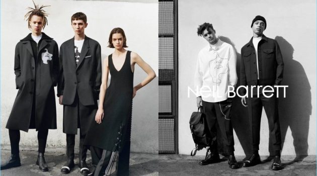 William Allen, Willow Barrett, Celine Delaugère, Alfie Harris, and Tyler Wright appear in Neil Barrett's fall-winter 2017 campaign.