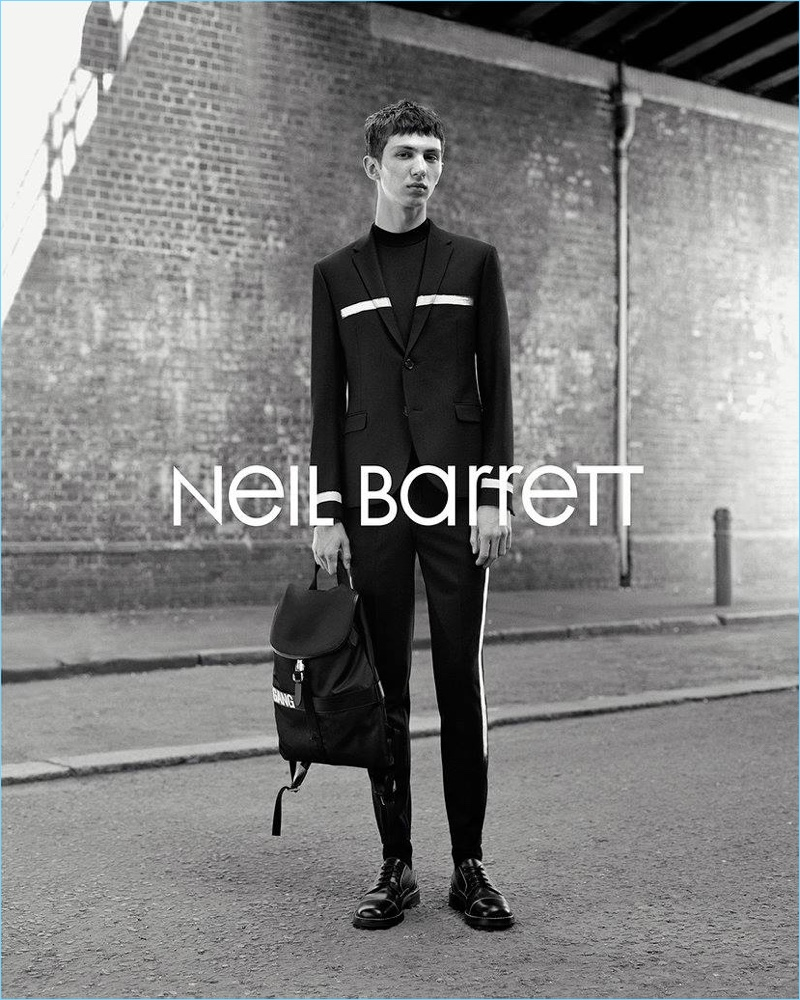 Front and center, Willow Barrett stars in Neil Barrett's fall-winter 2017 campaign.