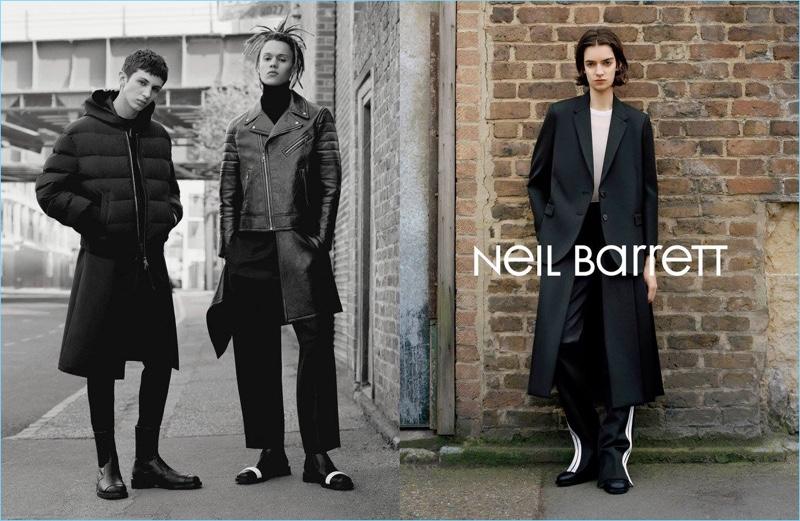 Willow Barrett, William Allen, and Celine Delaugère front Neil Barrett's fall-winter 2017 campaign.
