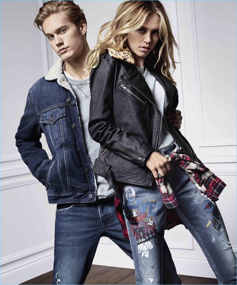 Pepe Jeans enlists Neels Visser and Delilah Belle Hamlin as the stars of its fall-winter 2017 campaign.