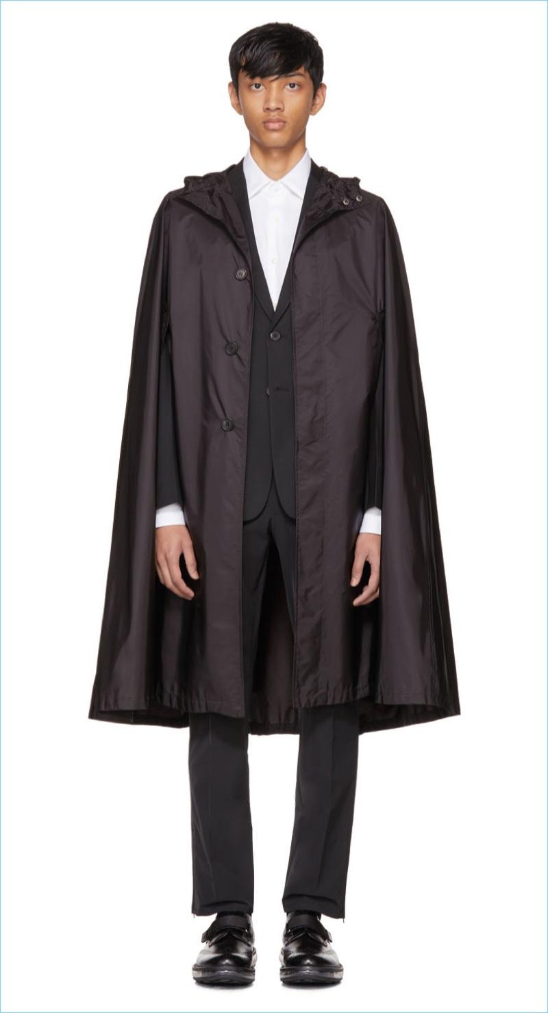 Prada Black Waterproof Nylon Cape Coat