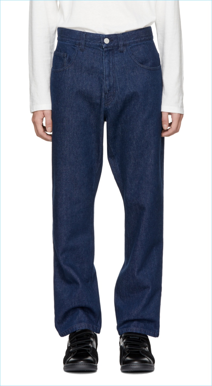 Raf Simons Navy Low Crotch Jeans