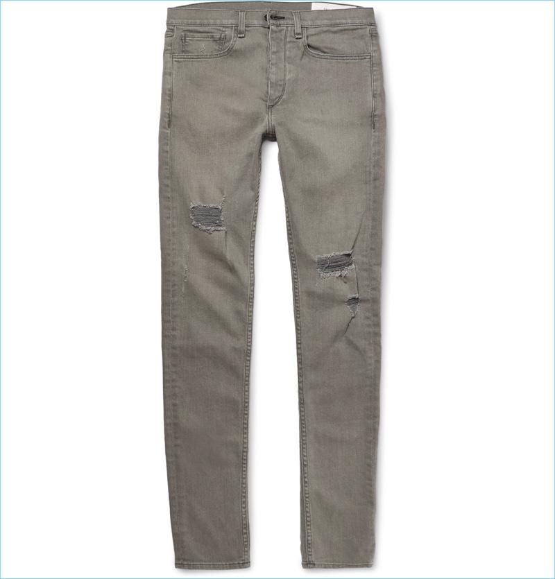 Rag & Bone Slim-Fit Distressed Stretch-Denim Jeans