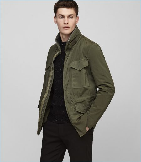 Reiss Olive Green Military Jacket