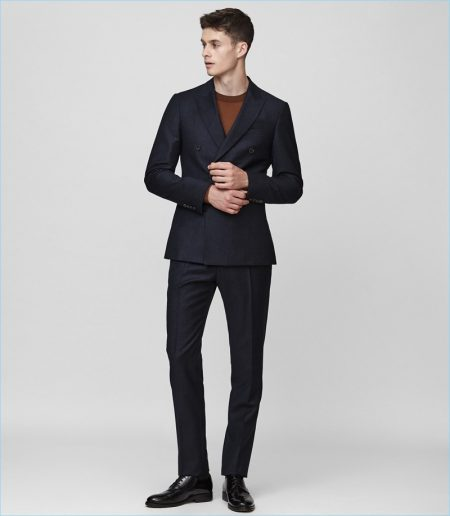 Reiss Pinstripe Double-Breasted Suit