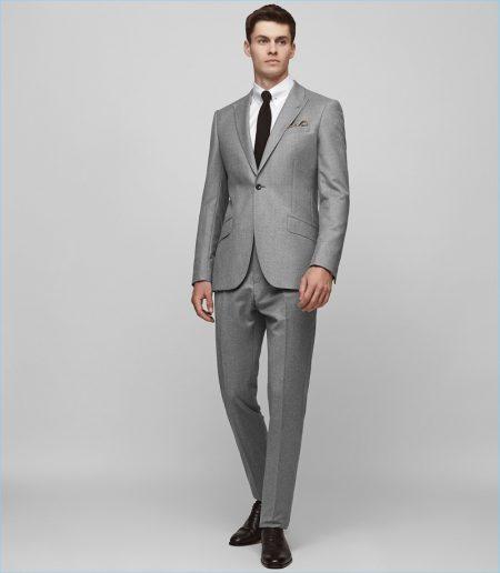 Reiss Wool Peak Lapel Suit in Grey