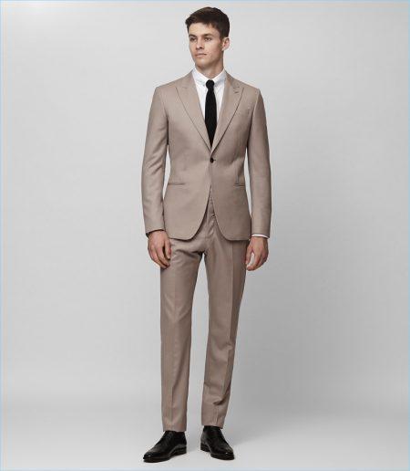 Reiss Wool Slim Taupe Brown Suit