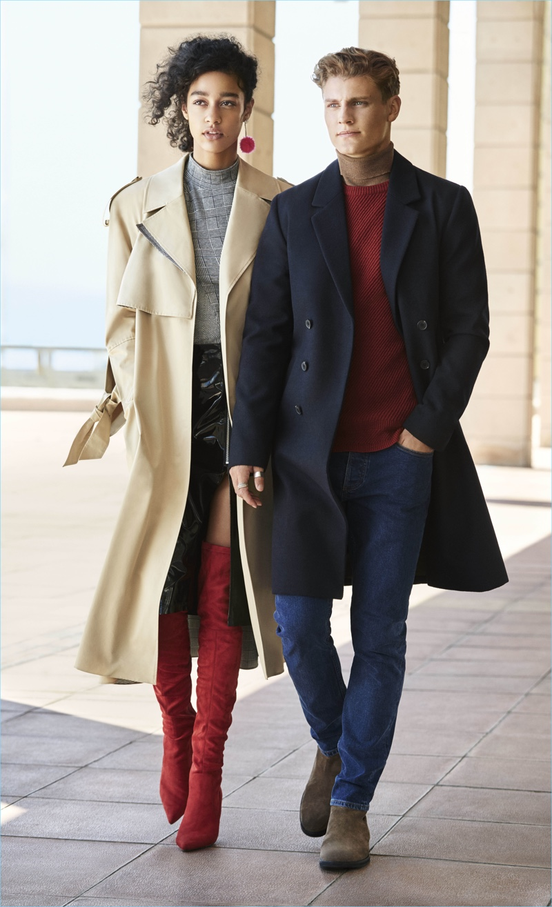 Models Damaris Goddrie and Mikkel Jensen come together for River Island's fall-winter 2017 campaign.