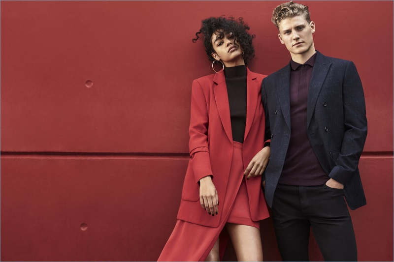 River Island enlists models Damaris Goddrie and Mikkel Jensen as the stars of its fall-winter 2017 campaign.