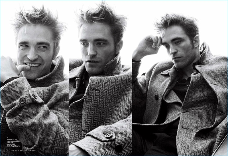 Appearing in a black and white image, Robert Pattinson wears a look from POLO Ralph Lauren.
