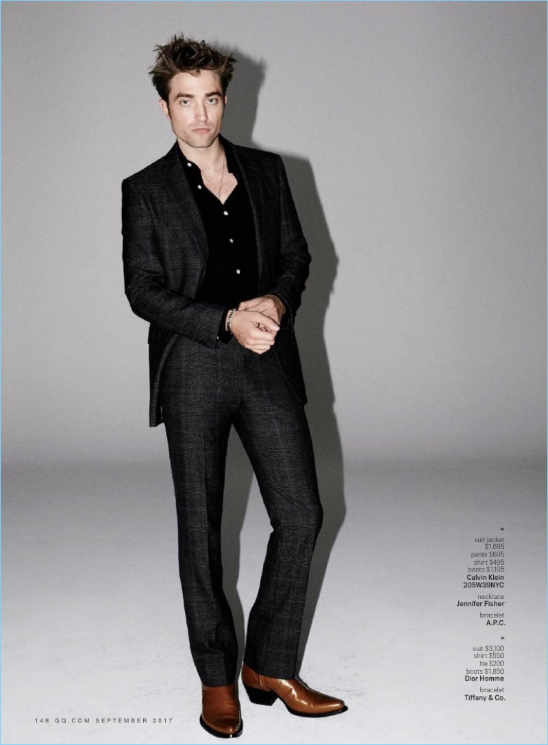 Suiting up for GQ, Robert Pattinson wears a Calvin Klein 205W39NYC look.