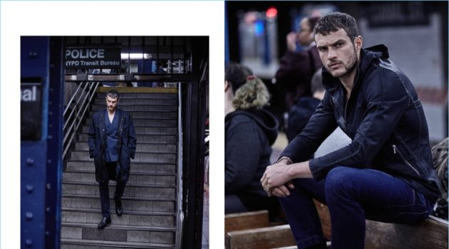 Left: Coming out of the subway, Ryan Cooper wears Ports 1961. Right: Waiting for the train, Cooper dons an Emporio Armani jacket with Ports 1961 jeans and Ermenegildo Zegna sneakers.