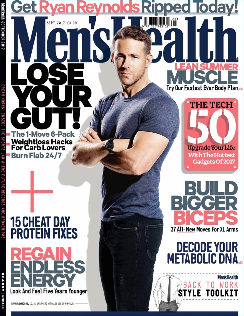 Ryan Reynolds covers the September 2017 issue of Men's Health UK.