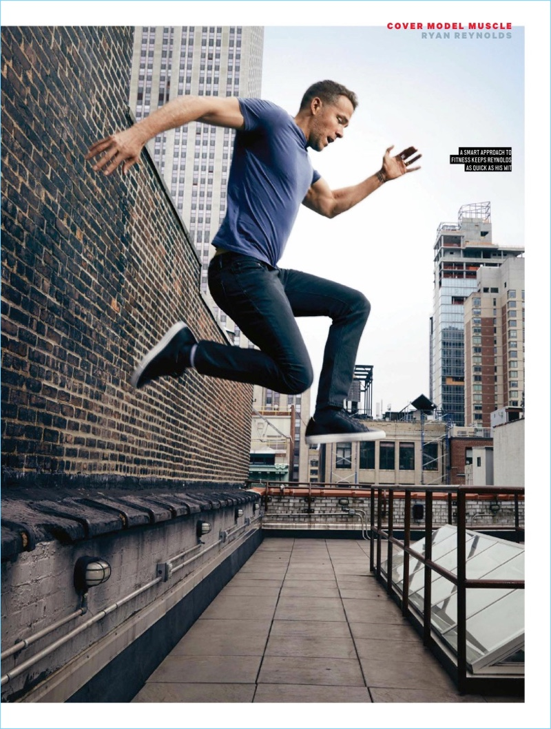 Leaping into action, Ryan Reynolds appears in a photo shoot for Men's Health UK.