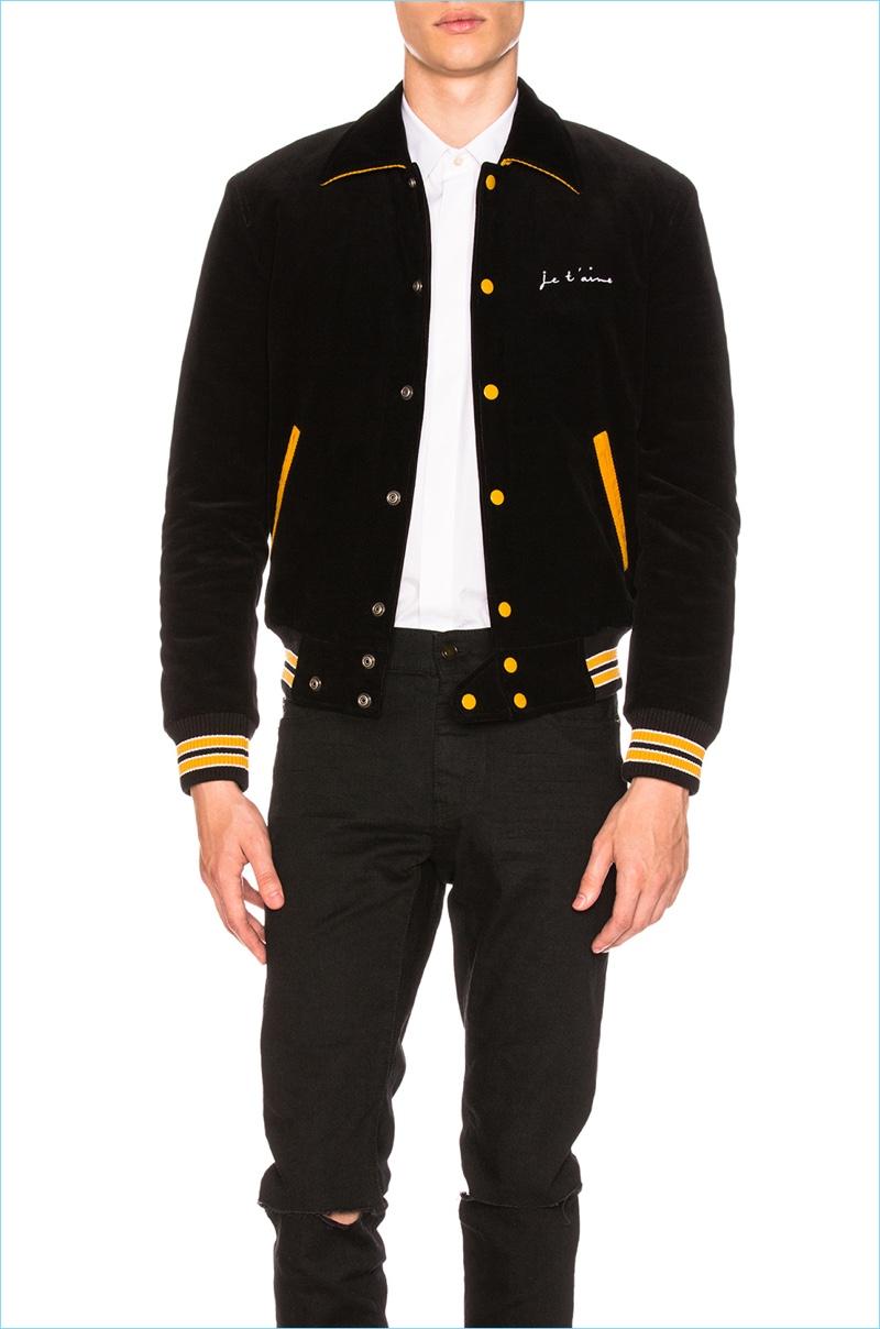 Saint Laurent Je T'Aime Velvet Bomber Jacket